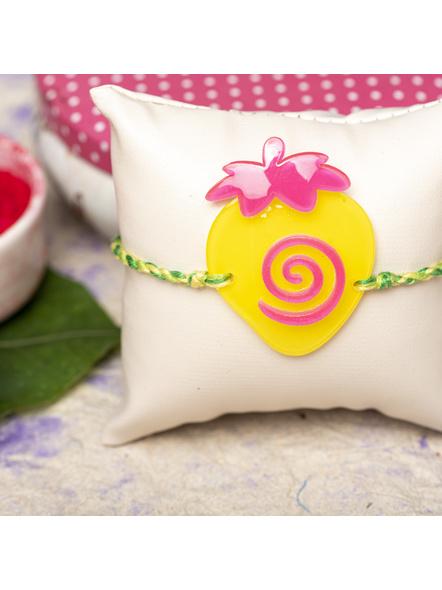 Acrylic Yellow Pink Strawberry with Green Yellow Dori Rakhi and Roli Chawal for Boys & Kids-1