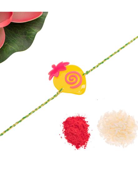 Acrylic Yellow Pink Strawberry with Green Yellow Dori Rakhi and Roli Chawal for Boys & Kids-2