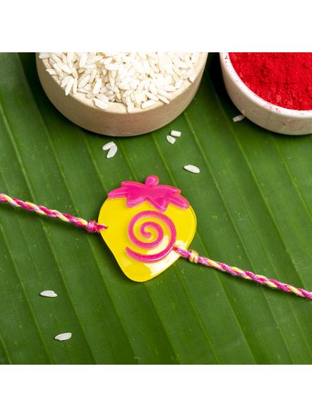 Acrylic Yellow Pink Strawberry with Pink Yellow Dori Rakhi and Roli Chawal for Boys & Kids-LAARKK07