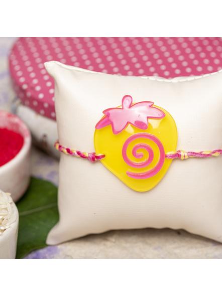 Acrylic Yellow Pink Strawberry with Pink Yellow Dori Rakhi and Roli Chawal for Boys & Kids-1
