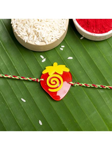Acrylic Red Yellow Strawberry Green Red Yellow  Dori Rakhi with Roli Chawal for Boys & Kids-LAARKK06