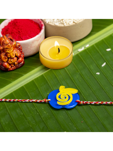 Acrylic Blue Yellow Apple Rakhi with White Red Golden Dori Roli Chawal for Boys and Kids-1