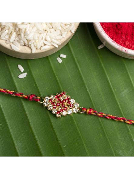 Exclusive American Diamond Swastik Rakhi Bracelet with Red Golden Dori Roli Chawal for Boys & Men-LAARKAD02