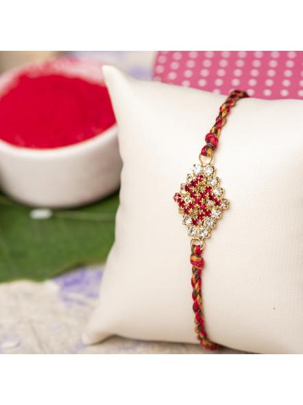 Exclusive American Diamond Swastik Rakhi Bracelet with Red Golden Dori Roli Chawal for Boys & Men-1
