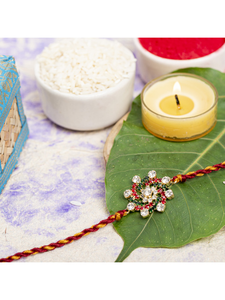 Exclusive American Diamond Floral Red Green Rakhi Bracelet with maroon Golden Dori Roli Chawal for Boys & Men-1