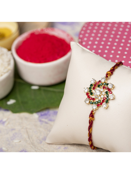 Exclusive American Diamond Floral Red Green Rakhi Bracelet with maroon Golden Dori Roli Chawal for Boys & Men-2