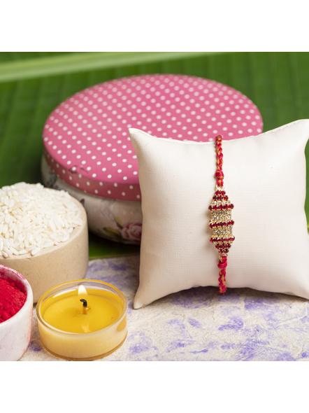 Exclusive American Diamond Rakhi Bracelet with Red Golden Dori Roli Chawal for Boys & Men-3