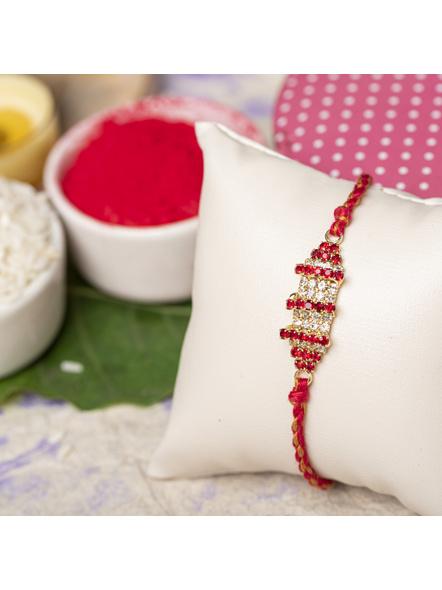 Exclusive American Diamond Rakhi Bracelet with Red Golden Dori Roli Chawal for Boys & Men-1