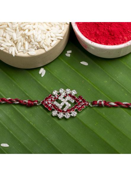 Exclusive American Diamond Maroon Swastik Rakhi Bracelet with Grey Maroon Dori Roli Chawal for Boys & Men-LAARKAD05
