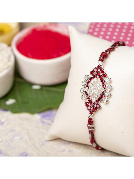 Exclusive American Diamond Maroon Swastik Rakhi Bracelet with Grey Maroon Dori Roli Chawal for Boys & Men-1