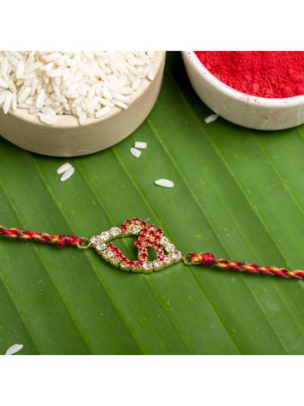 Exclusive American Diamond OM Rakhi Bracelet with Red Golden Dori Roli Chawal for Boys & Men-1