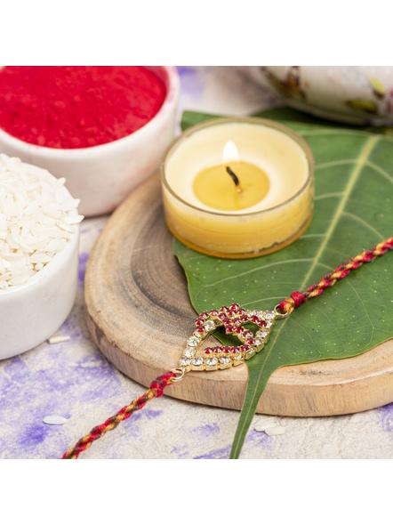Exclusive American Diamond OM Rakhi Bracelet with Red Golden Dori Roli Chawal for Boys & Men-2