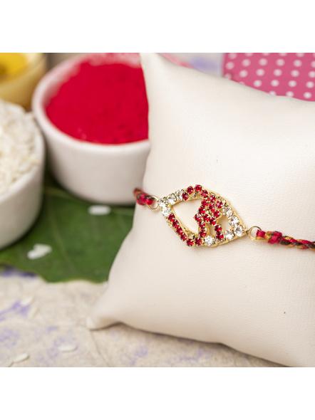 Exclusive American Diamond OM Rakhi Bracelet with Red Golden Dori Roli Chawal for Boys & Men-LAARKAD06