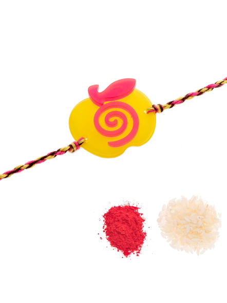 Acrylic Yellow Pink Apple Rakhi with Pink Yellow Dori Roli Chawal for Boys and Kids-2