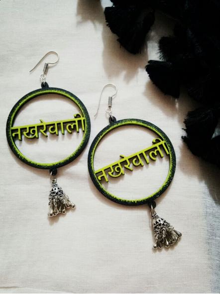 Quirky Neon Green Black Nakhrewali German Silver Jhumka Earring-1