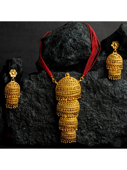 Four Layer Designer 1.5g Gold Polished Pendant with Red Seed Bead Tassel and Stud Dangler Earring-LAAGP15NLS09