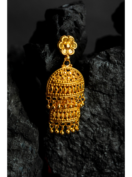 Four Layer Designer 1.5g Gold Polished Pendant with Red Seed Bead Tassel and Stud Dangler Earring-Gold-Copper-Adult-Female-11CM-2