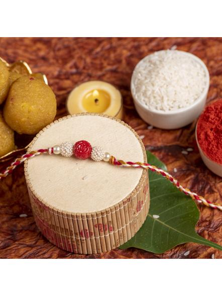 Handmade Red Cinnabar Beaded Pearl Rakhi for Men and Boys with Roli Chawal-2