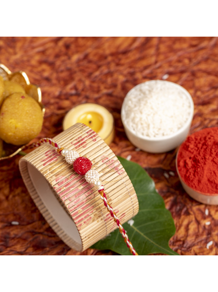 Handmade Red Cinnabar Beaded Pearl Rakhi for Men and Boys with Roli Chawal-4