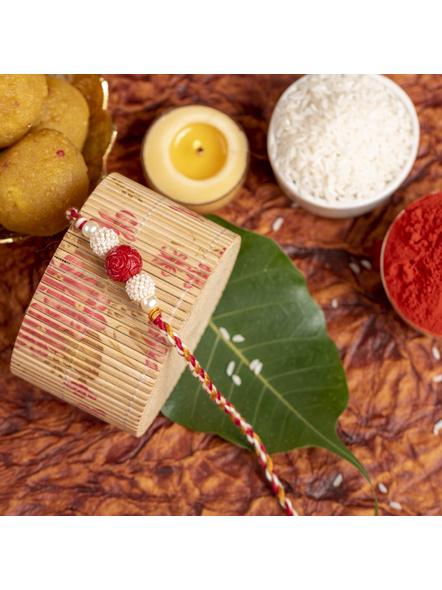 Handmade Red Cinnabar Beaded Pearl Rakhi for Men and Boys with Roli Chawal-3