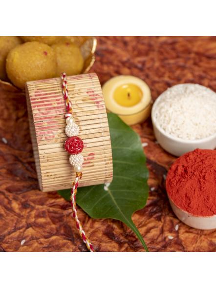Handmade Red Cinnabar Beaded Pearl Rakhi for Men and Boys with Roli Chawal-1