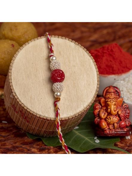 Handmade Red Cinnabar Beaded Pearl Rakhi for Men and Boys with Roli Chawal-LAARK05