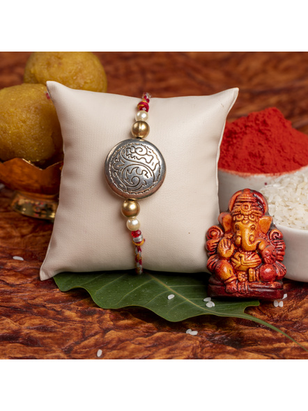 Designer Dual Tone Silver Golden Rakhi for Men and Boys with Roli Chawal-1