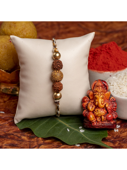 Handmade Acrylic Carved Bead Rudraksh Golden Rakhi for Men and Boys with Roli Chawal-1