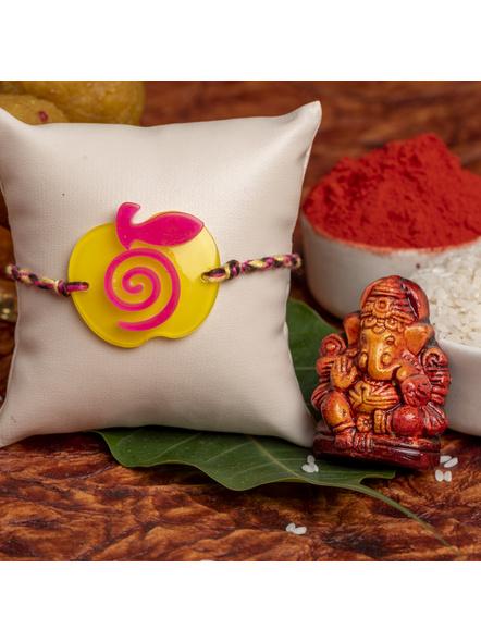 Acrylic Yellow Pink Apple Rakhi with Pink Yellow Dori Roli Chawal for Boys and Kids-1
