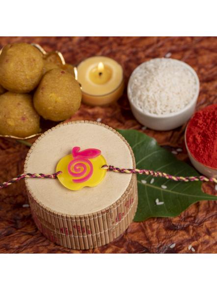 Acrylic Yellow Pink Apple Rakhi with Pink Yellow Dori Roli Chawal for Boys and Kids-LAARKK18