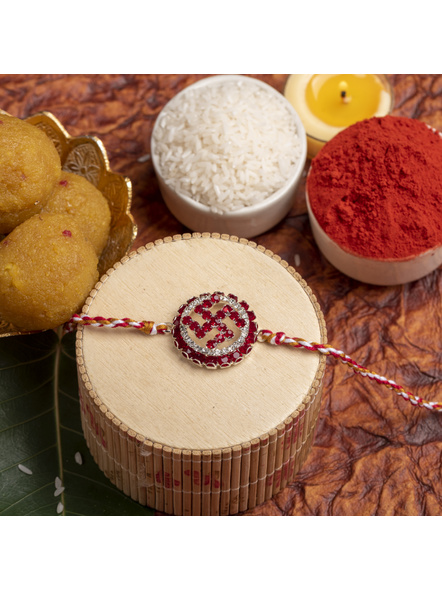 Exclusive Circular Red White American Diamond Swastik Rakhi Bracelet with Red White Golden Dori and Roli Chawal for Boys and Men-1