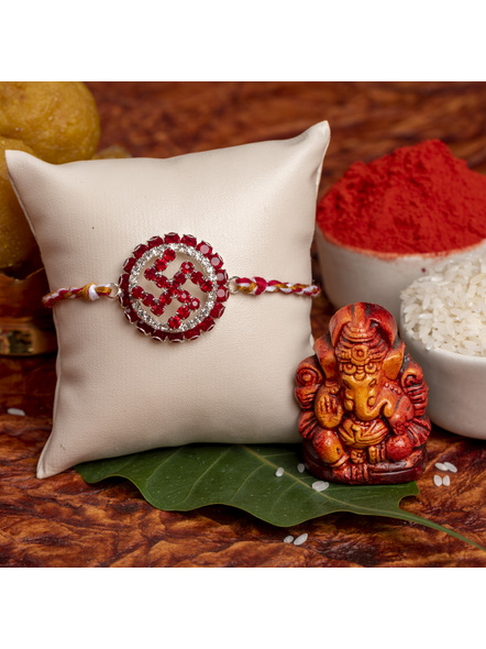 Exclusive Circular Red White American Diamond Swastik Rakhi Bracelet with Red White Golden Dori and Roli Chawal for Boys and Men-LAARKAD01