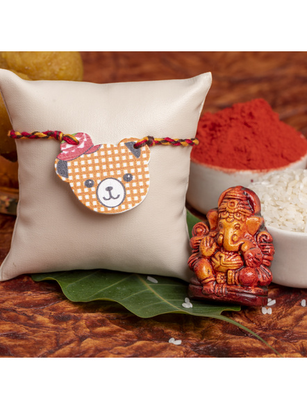 Wooden Bear with Hat Rakhi for Kids with Roli Chawal-1