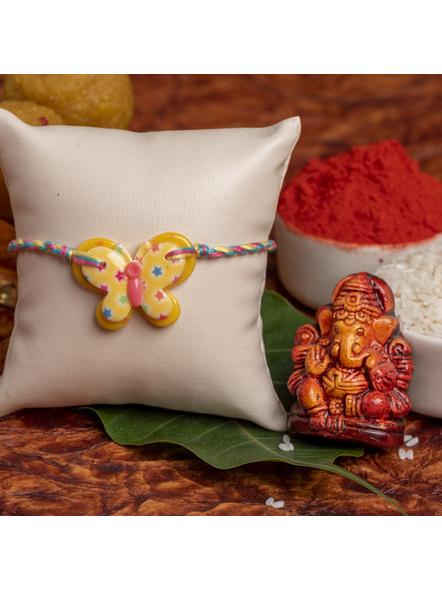 Acrylic Yellow Butterfly Rakhi with Yellow Pink Blue Dori Roli Chawal for Boys & Kids-1