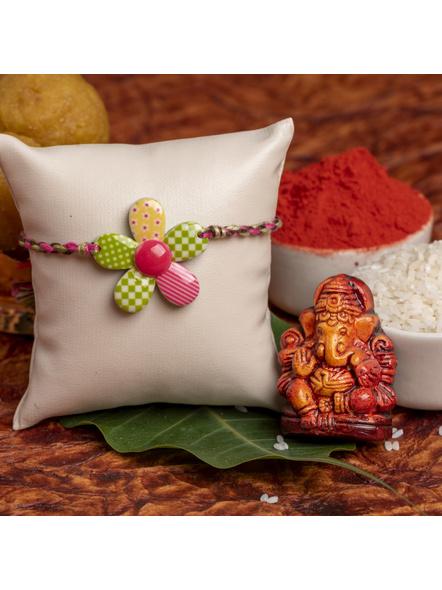 Acrylic Multicolor Floral Rakhi with Multicolor Dori Roli Chawal for Boys & Kids-LAARKK15