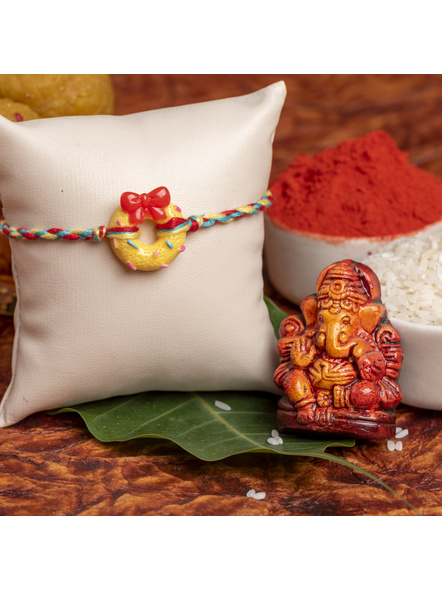 Acrylic Yellow Doughnut Rakhi Yellow Red Dori Roli Chawal for Kids-LAARKK19