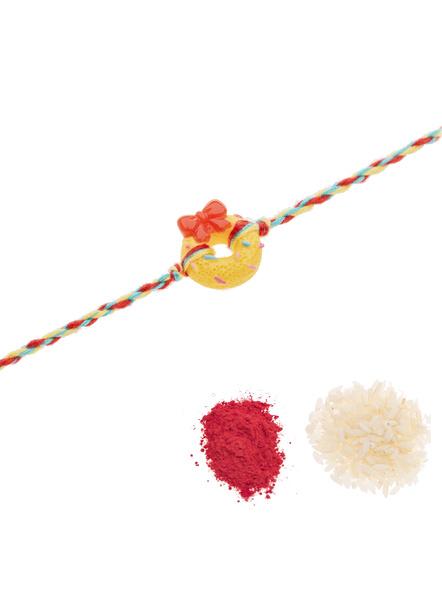 Acrylic Yellow Doughnut Rakhi Yellow Red Dori Roli Chawal for Kids-2