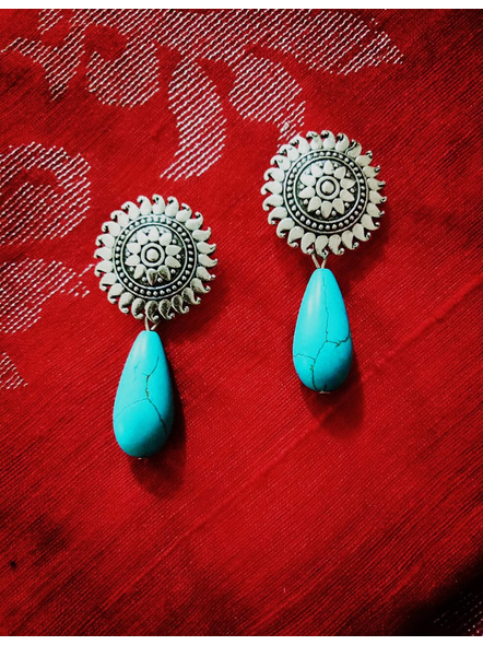 Designer German Silver Floral Stud Earring with Semi Precious Turquoise Drop-Silver-German Silver-Adult-Female-5.5cm-1