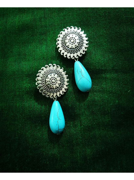 Designer German Silver Floral Stud Earring with Semi Precious Turquoise Drop-LAAER425