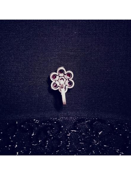 Designer German Silver Ruby Floral Clip on Nosepin-1