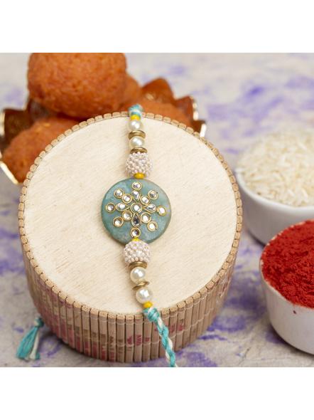 Handmade Beaded Pearl Teal Green Kundan Rakhi with Roli Chawal-LAARK09
