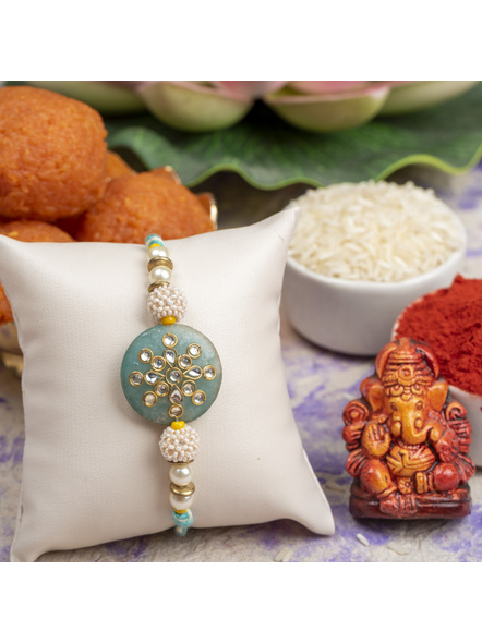 Handmade Beaded Pearl Teal Green Kundan Rakhi with Roli Chawal-1
