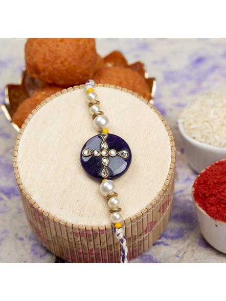 Handmade Shell Pearl Purple Kundan Rakhi with Roli Chawal-LAARK10
