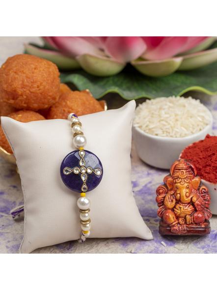 Handmade Shell Pearl Purple Kundan Rakhi with Roli Chawal-1