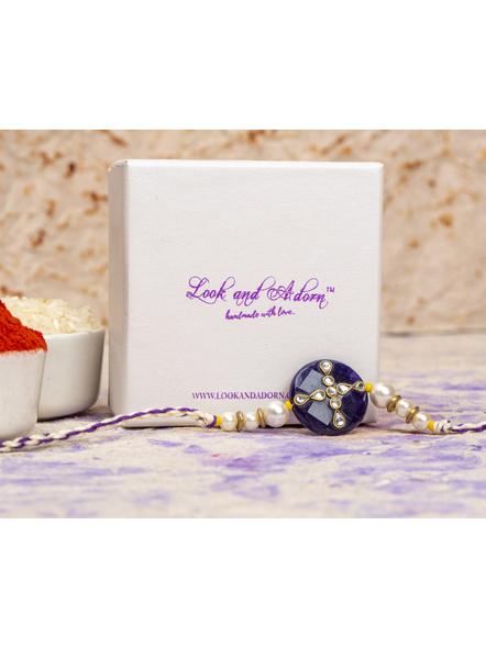 Handmade Shell Pearl Purple Kundan Rakhi with Roli Chawal-2