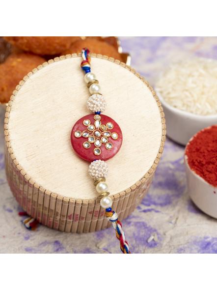 Handmade Beaded Pearl Red Kundan Rakhi with Roli Chawal-LAARK11