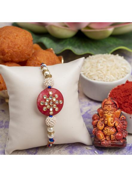 Handmade Beaded Pearl Red Kundan Rakhi with Roli Chawal-1