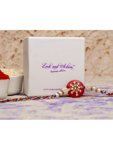 Handmade Beaded Pearl Red Kundan Rakhi with Roli Chawal-2