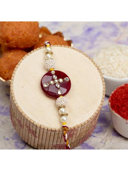 Handmade Beaded Pearl Maroon Kundan Rakhi with Roli Chawal-LAARK12