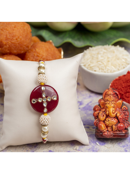 Handmade Beaded Pearl Maroon Kundan Rakhi with Roli Chawal-1